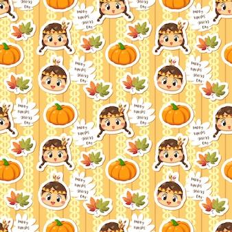 女の子のカボチャと葉とのシームレスなパターン。