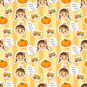 Seamless pattern with girl pumpkin and leaves.