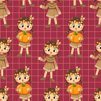 Seamless pattern with a girl who braids and holds a pumpkin