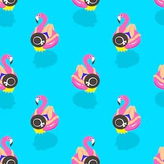 Seamless pattern with girls on an inflatable pink flamingo in summer of swims and rests.
