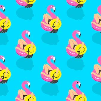 Бесшовный фон с девушками на надувной розовый фламинго летом плавает и отдыхает.