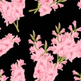 Seamless pattern with gladiolus flower bouquet