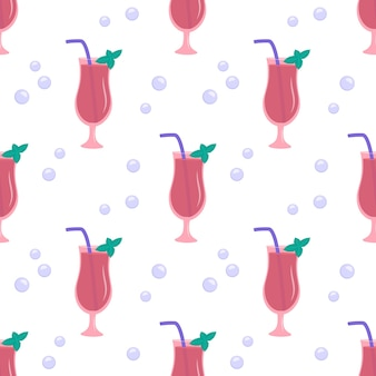 Seamless pattern with glasses of pink cocktail mint and bubbles holiday print with alcohol drink