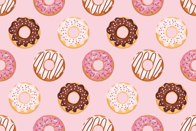 Seamless pattern with glazed donuts