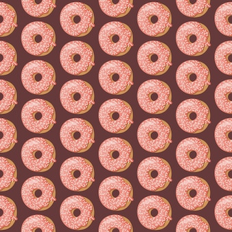Seamless pattern with glazed donuts.