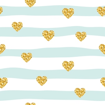 Seamless pattern with glitter confetti hearts on striped background