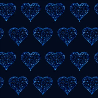 Seamless pattern with glowing low polygonal hearts