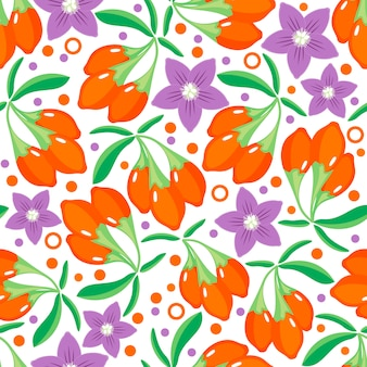 Seamless pattern with goji berries