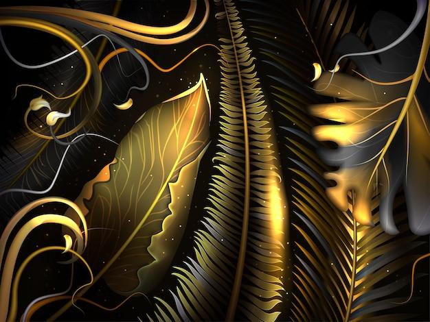 金と黒の熱帯の葉とのシームレスなパターン