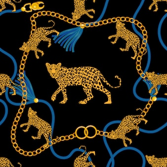 Seamless pattern with gold chain braid rope and angry wild leopard fabric design fashion print t shirt poster textile embroidery. rich beauty vintage retro style illustration. trendy graphic design.
