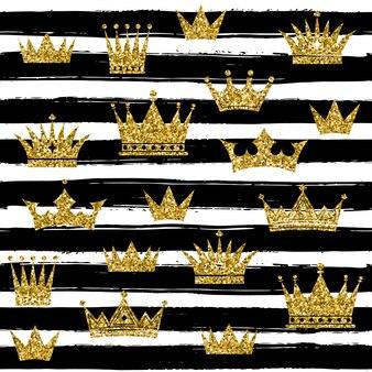 金の王冠とのシームレスなパターン