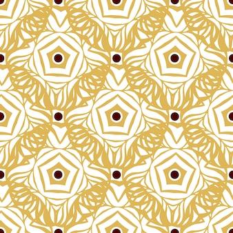 ゴールドエスニックの装飾とシームレスなパターン。無限の装飾的な質感
