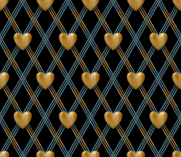 Seamless pattern with gold hearts on a black background for valentine day.  illustration.