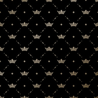 Seamless pattern with gold king crowns