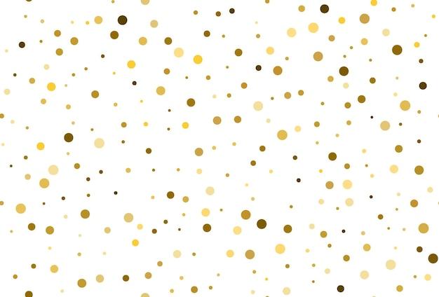 ゴールドの水玉模様の紙吹雪とのシームレスなパターン。金色のドット紙吹雪シームレスな背景