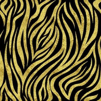 ゴールドスポットゼブラとのシームレスなパターン。印刷物、ウェブ、はがき、バナーなどの背景。