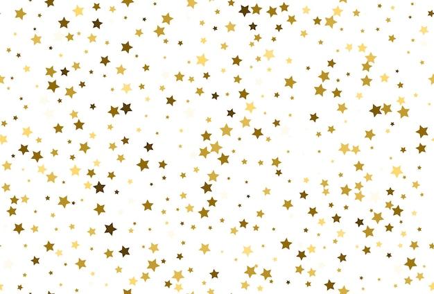 金の星の紙吹雪とのシームレスなパターン。シームレスな金色の星のパターン。星空の背景。