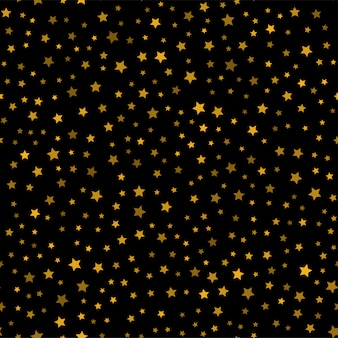 Бесшовный фон с золотыми звездами на черном фоне. вектор.