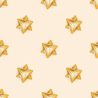 황금 활과 완벽 한 패턴입니다. 끝없는 배경. 샴페인 색상.