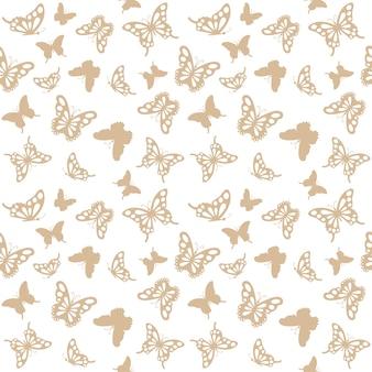 Seamless pattern with golden butterflies.