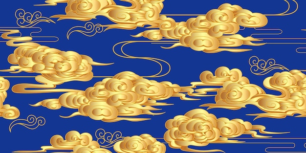 Seamless pattern with golden clouds in classic chinese style
