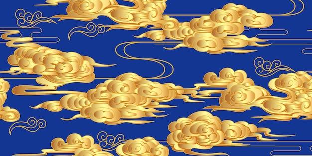 古典的な中国風の金色の雲とのシームレスなパターン
