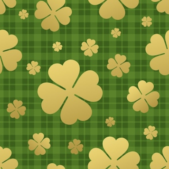 Seamless pattern with golden clover leaf. st. patricks day background.  illustration