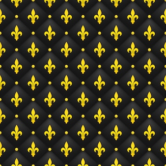 Seamless pattern with golden fleur-de-lis on a black quilted.  luxury royal wallpaper.