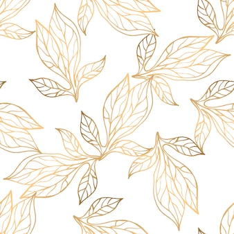 Seamless pattern with golden floral elements