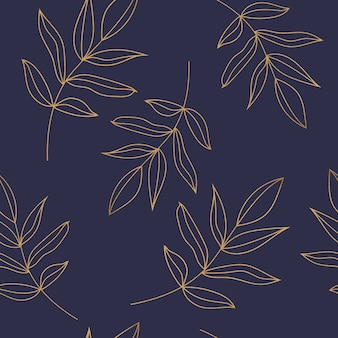 Seamless pattern with golden leaves on the dark blue background