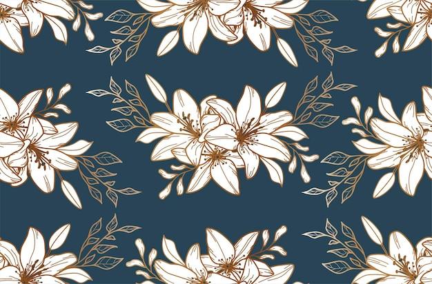 Бесшовный фон с золотыми лилиями. цветочный фон. текстиль. выкройка ткани.
