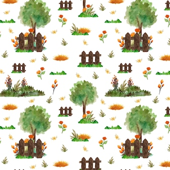 Seamless pattern with gorgeous garden