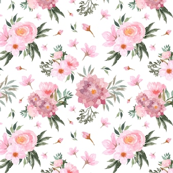 Seamless pattern with gorgeous red flowers