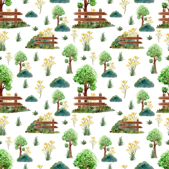 Seamless pattern with gorgeous trees and flowers