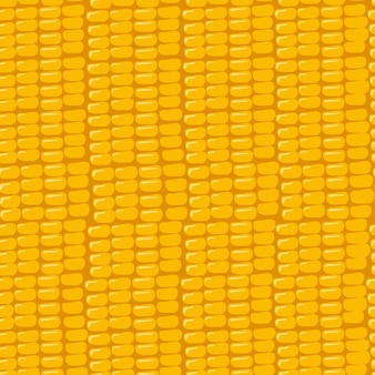 Seamless pattern with grains of corn on a yellow background summer or autumn print of the harvest of...