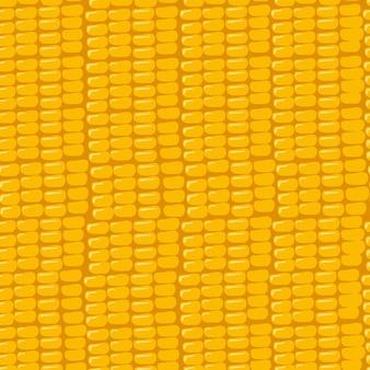 の収穫の黄色の背景の夏または秋のプリントにトウモロコシの粒とのシームレスなパターン...