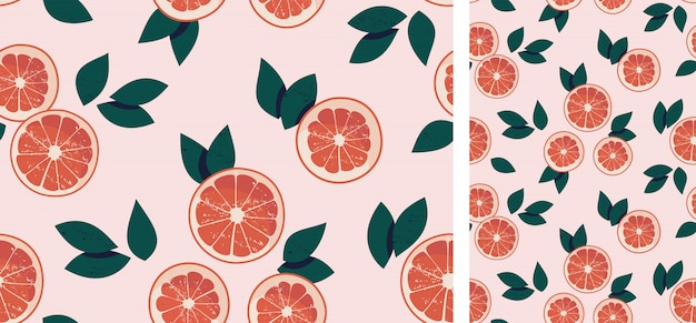 Seamless pattern with grapefruits and leaves