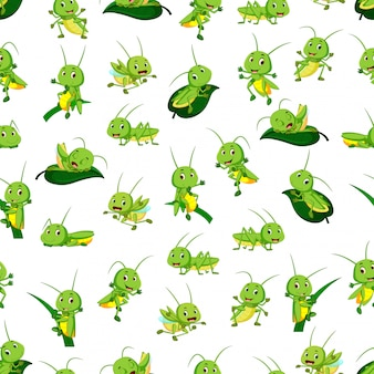 Seamless pattern with grasshopper cartoon