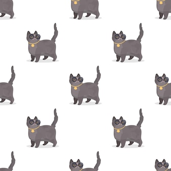 Seamless pattern with gray cat with glasses and gold chain illustration