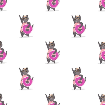 Seamless pattern with a gray cat with a pink rubber ring