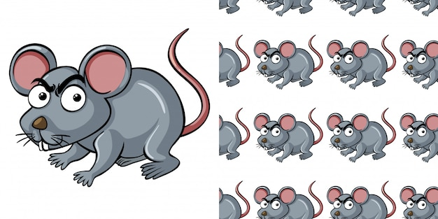 Seamless pattern with gray mouse