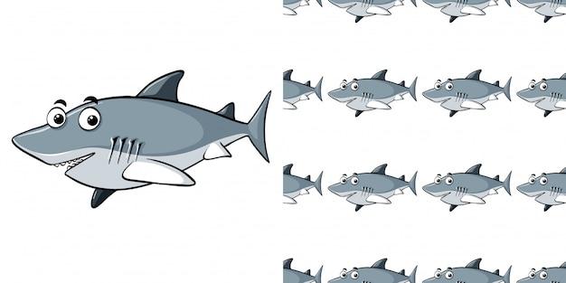 灰色のサメとのシームレスなパターン