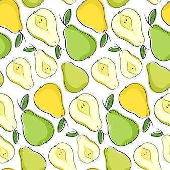 Бесшовный фон с зелеными и желтыми грушами. повторяющаяся плитка с фруктами груши и ее дольками