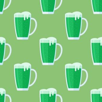 緑色のビールジョッキとのシームレスなパターン