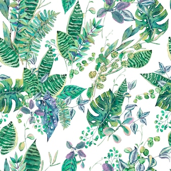 Seamless pattern with green exotic leaves