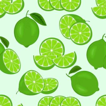 Бесшовный фон с зелеными свежими сочными лаймами или ломтиками лимона