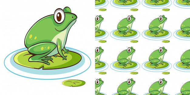 Seamless pattern with green frog on water lily