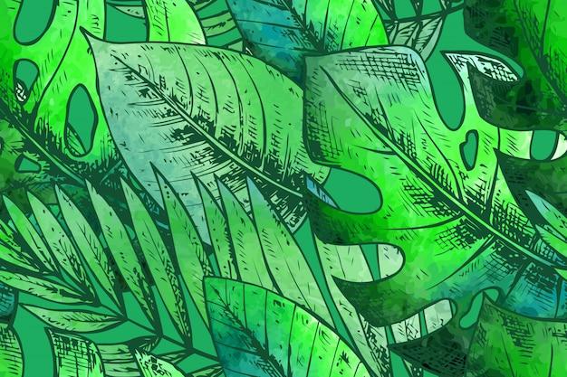 Бесшовный фон с зелеными рисованной тропических растений