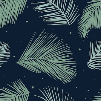 Seamless pattern with green leaves of palm trees vector.