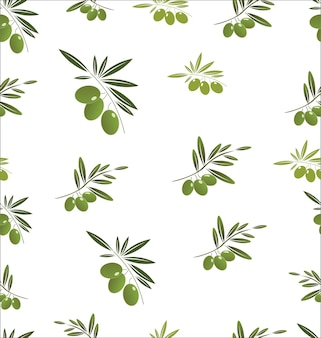 Seamless pattern with green olive tree branches on white background